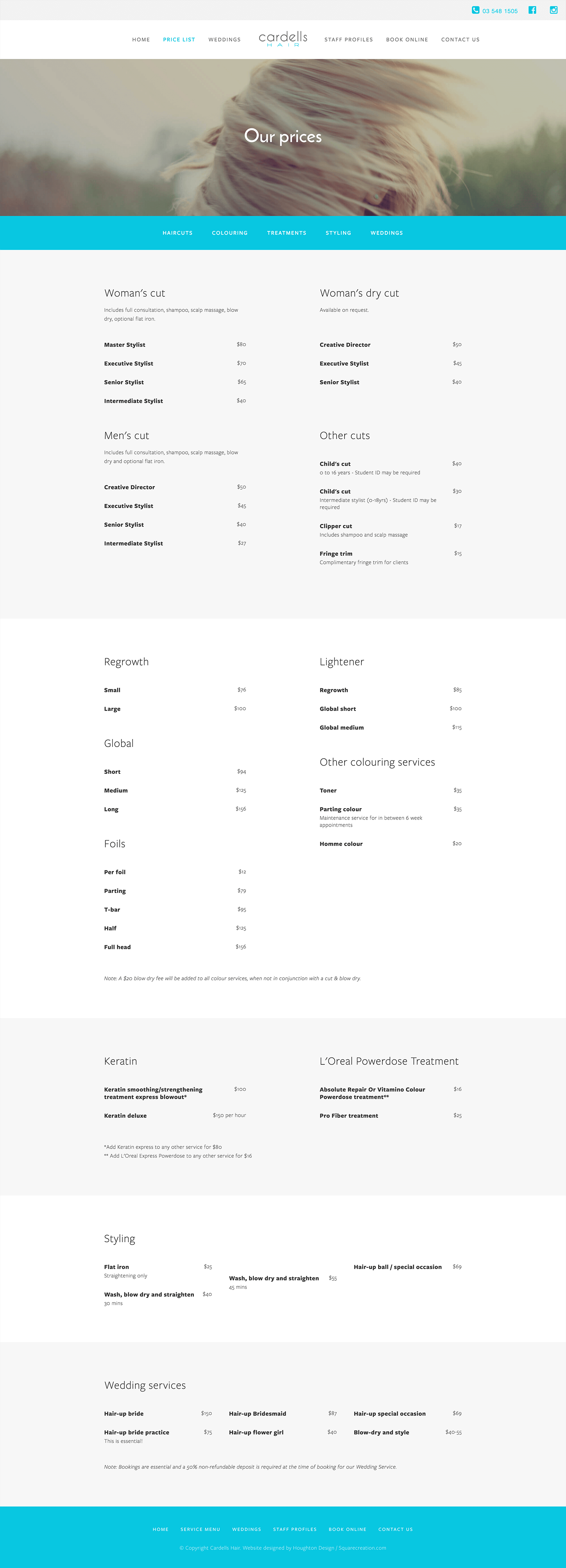 Cardells Hair - Pricing page