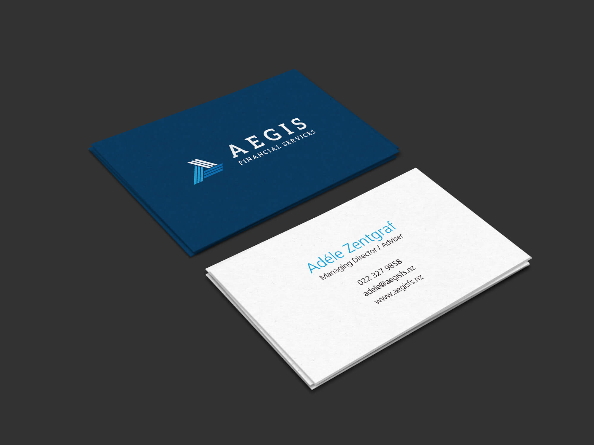 Logo and business card for Aegis Financial Services