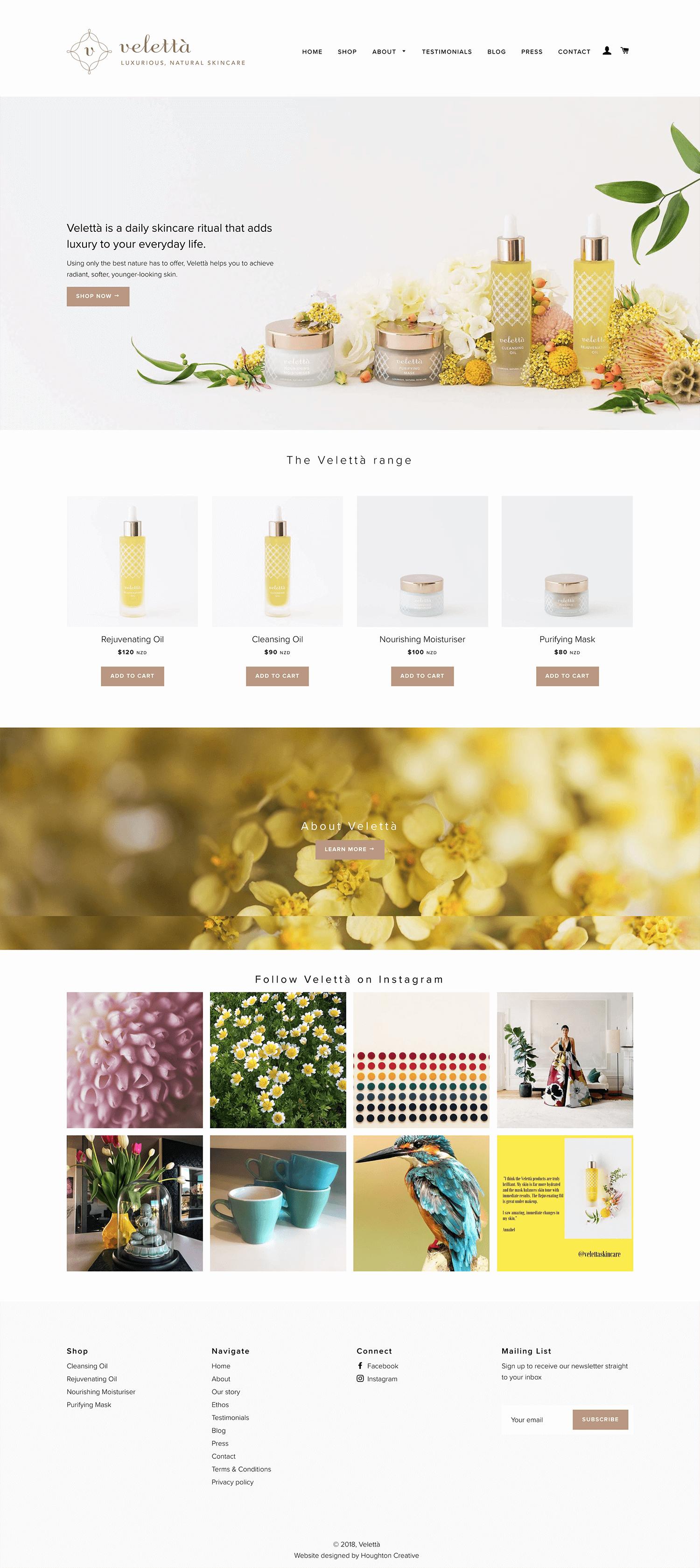 Velettà Skincare home page
