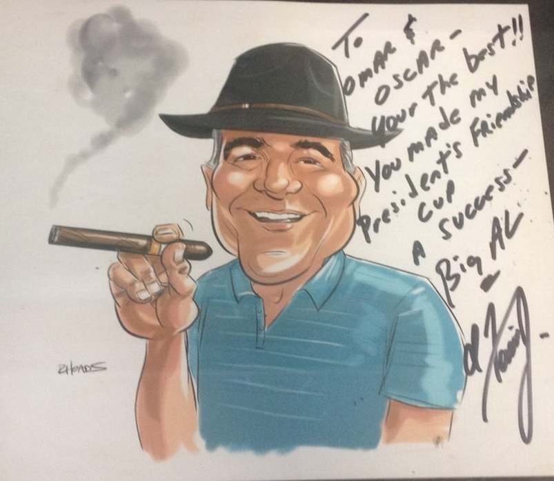 """Big Al, an Executive Manager at MGM Grand in Las Vegas, gave this to us. It reads: """"To Omar and Oscar- You're the best!! You made my President's Friendship Cup a success- Big AL"""""""