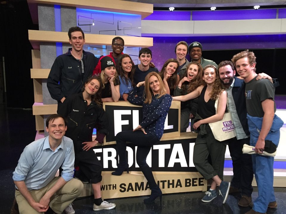 JAW COMES FULL CIRCLE: IN 2016, JAW PERFORMS ON THE SET OF FULL FRONTAL WITH SAMANTHA BEE, WHICH JAW FOUNDER JO MILLER CURRENTLY CO-EXECUTIVE PRODUCES AND CO-WRITES.