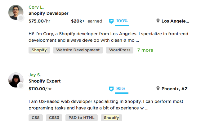 Shopify POS experts on Upwork