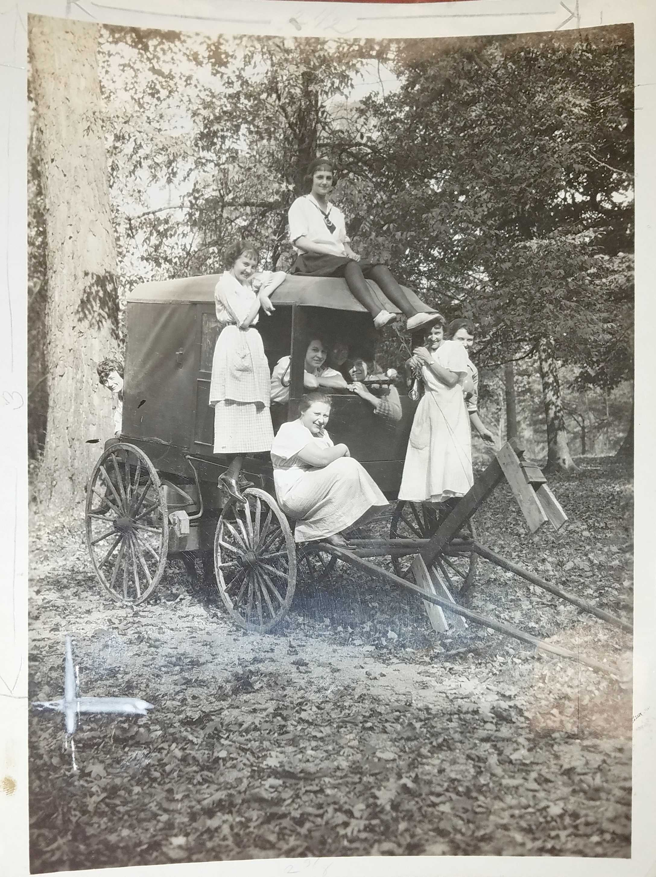 """Women at Briarcliff, captioned """"My Kingdom for a Horse."""" Photo courtesy of Wright State University Special Collections and Archives."""