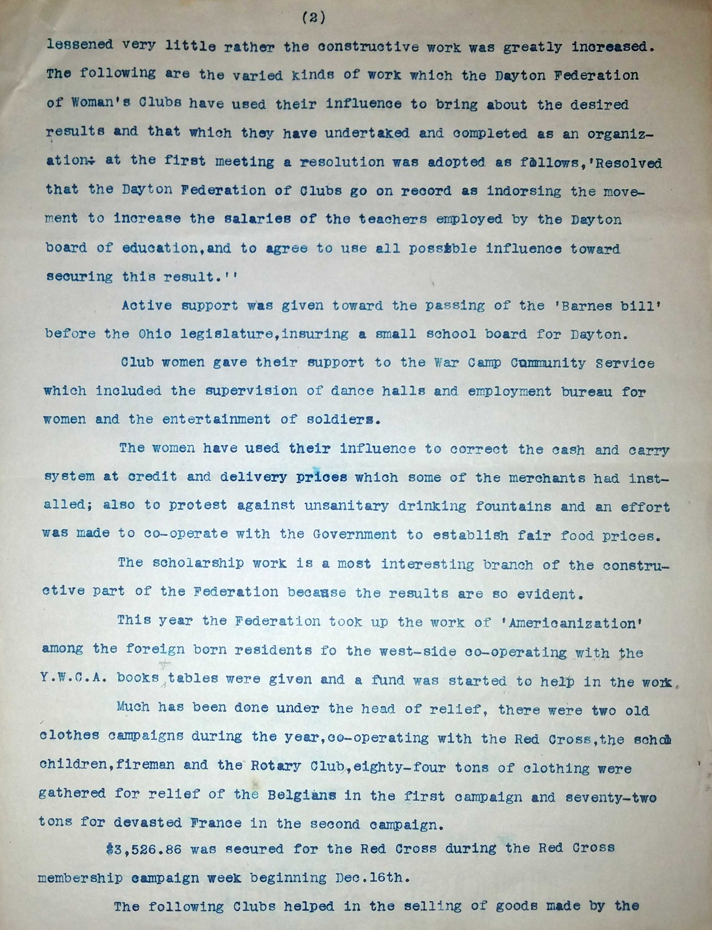 Page 2 of the Dayton Federation of Women's Clubs Annual Report, 1918-1919. Image courtesy of the Wright State University Special Collections and Archives.