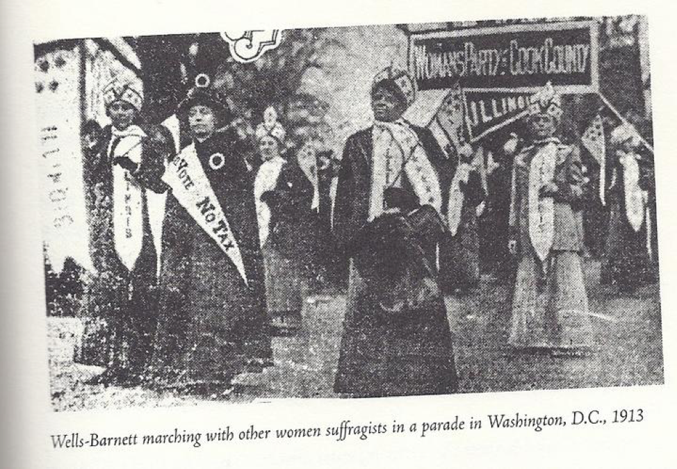 Ida B Wells Marching with other women suffragists in the Parade in Washington, 1913 (via http://suffrage100ma.org/ida-b-wells/)