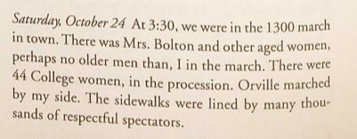 Section of Bishop Milton Wright's diary, reproduced.  (Wright Brothers Collection, Special Collections and Archives, Wright State University)