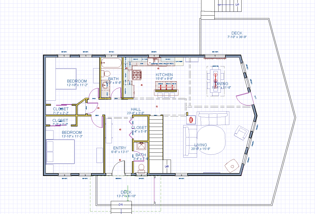 1st floor of the house plan. A large great room with a glass front wood stove will be the main hangout area. Note the large wrap around deck connected to the front entry porch.
