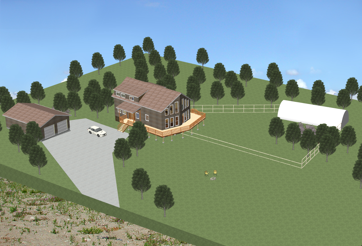 A view of what the full homestead might look like. Detached two car garage with full woodworking shop in rear. Fenced off area to right of house includes a small orchard, plenty of free range chicken forage, and a 50 ft long greenhouse.