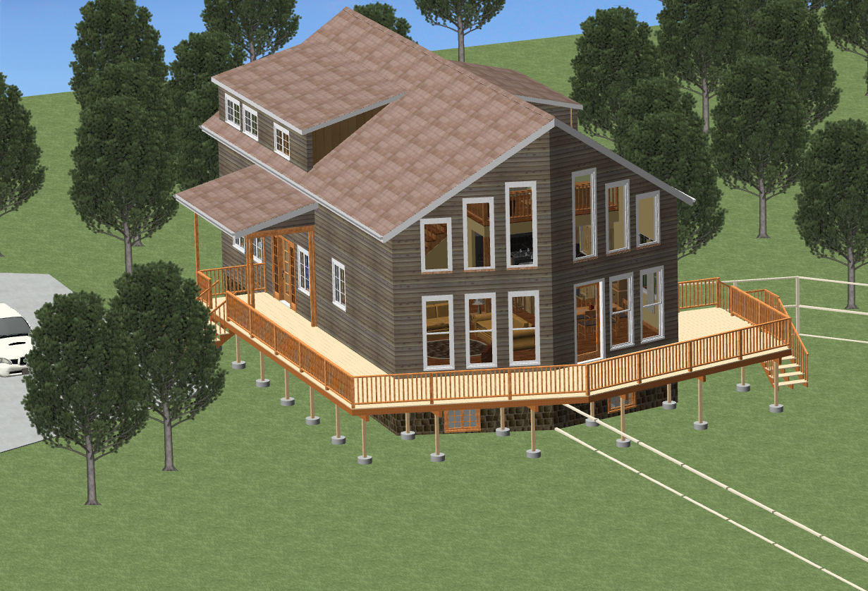 A rendering of what the house might look like when done, when seen from the south east. Note the large picture window wall and wrap around porch. And Skillet will have a fenced yard again!