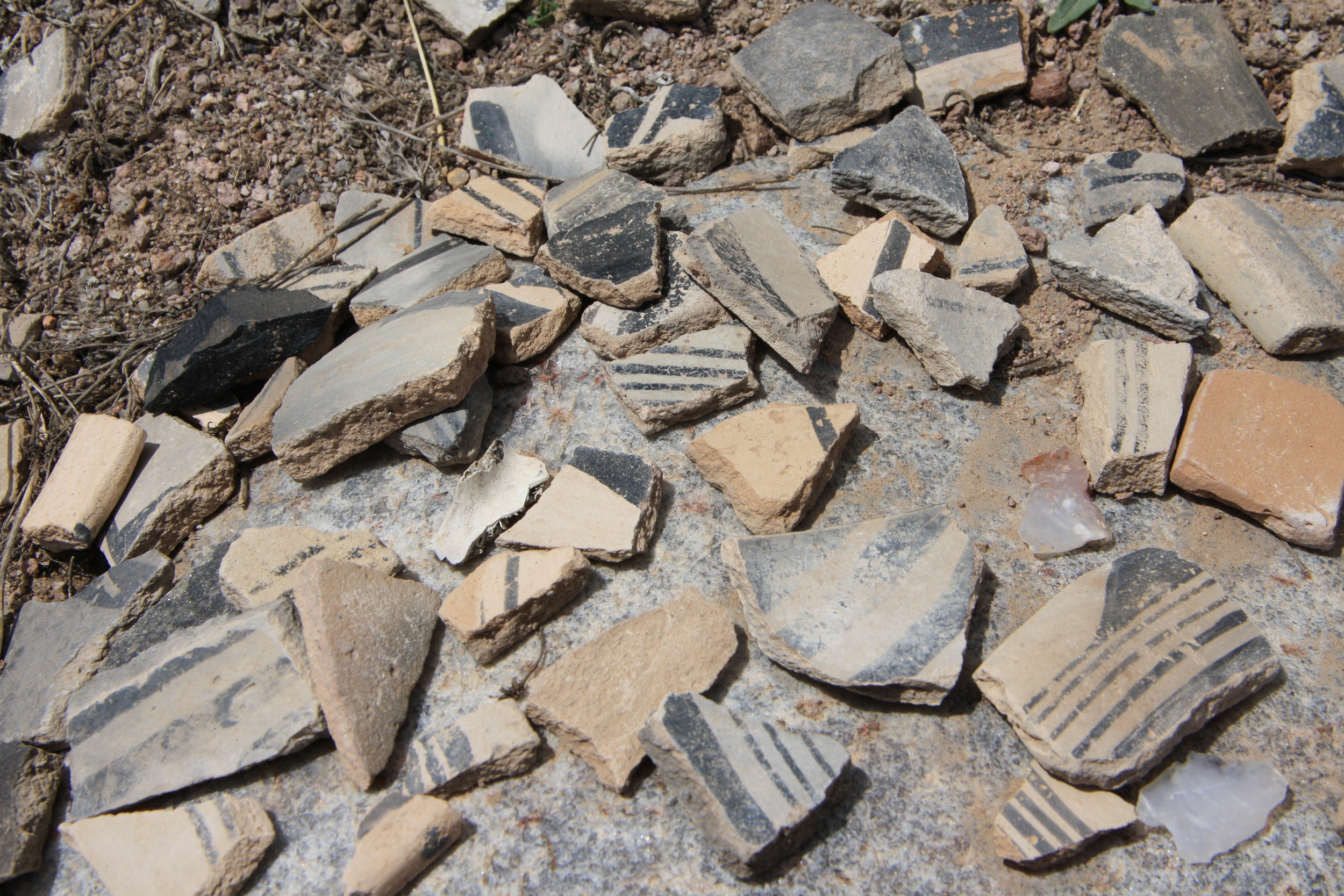 Pot sherds in the ruins of a Pueblo above Ojo Caliente.