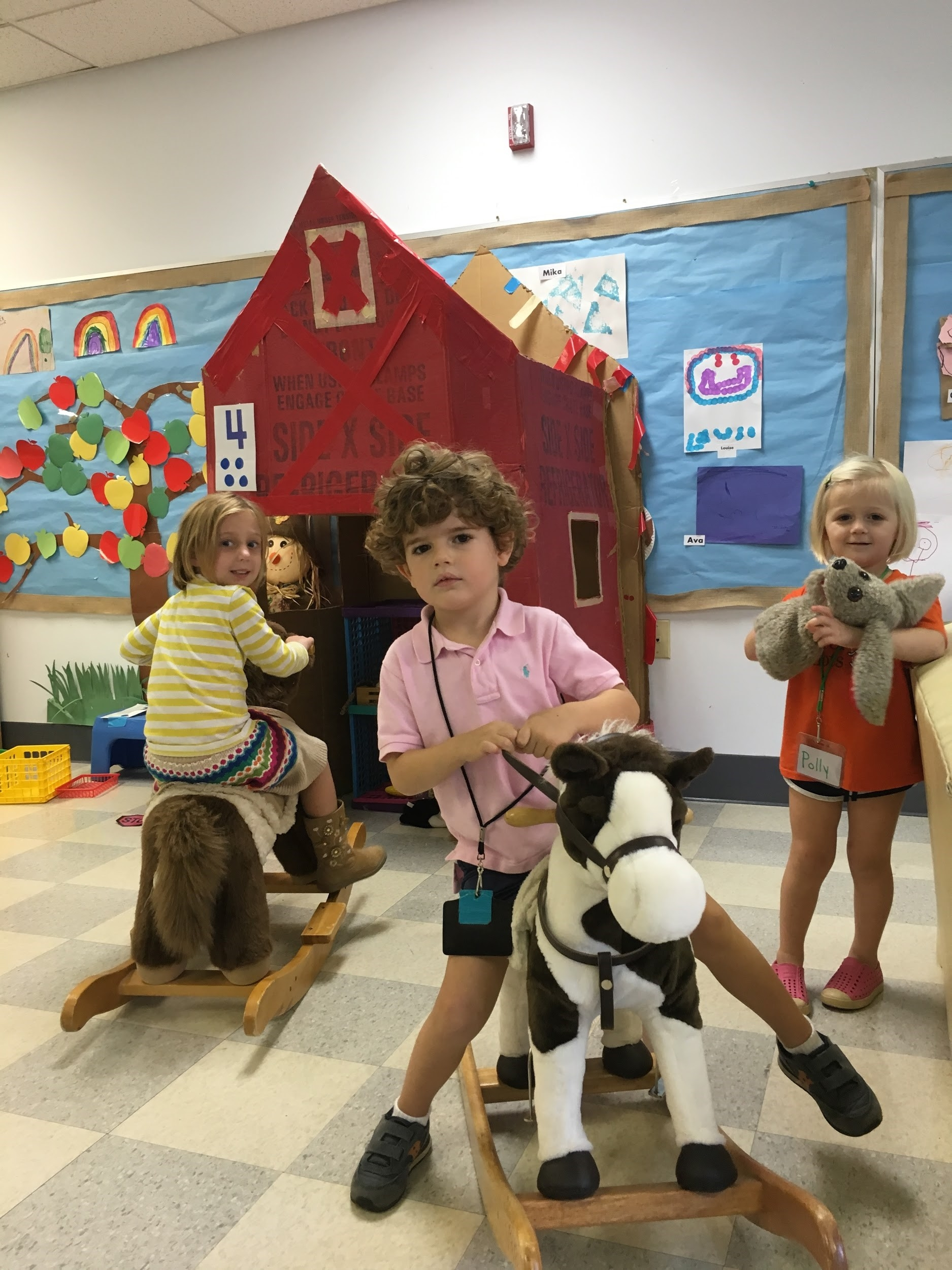 The barn continues to be very popular. Some creative stories and conversations are happening in the barn as the children play with the barn animals and one another.