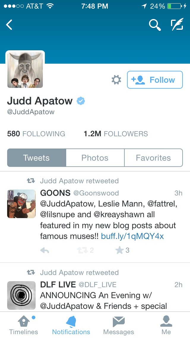 Judd Apatow retweets the blog post about him!