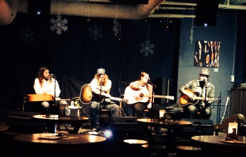 """Bryson Waind, Carter Felker, Bucks, Rob Lagace. One of many """"In The Round"""" shows I performed in the early days at Wine-Ohs, an unfortunately no-longer live music venue in Calgary."""
