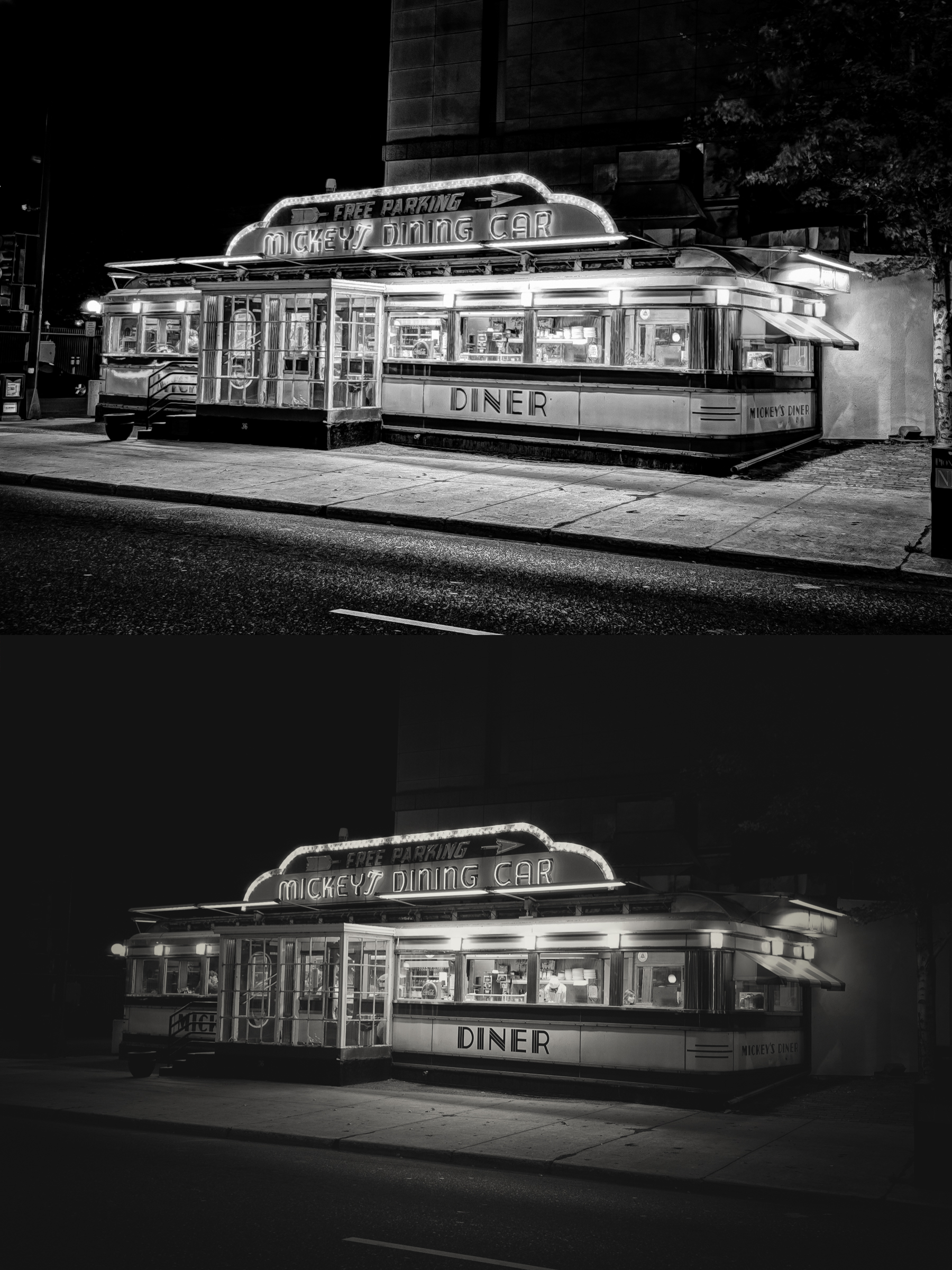 Mickey's Diner, 2011 (top), 2014 (bottom)