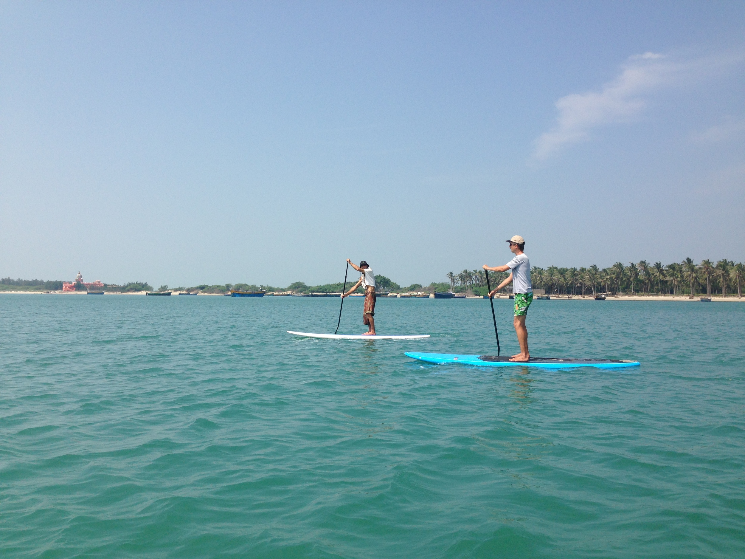 SUP trip in India- Swami Vivekananda Memorial Hall in the background at Kundukal Beach on Pamban Island- Tamil Nadu