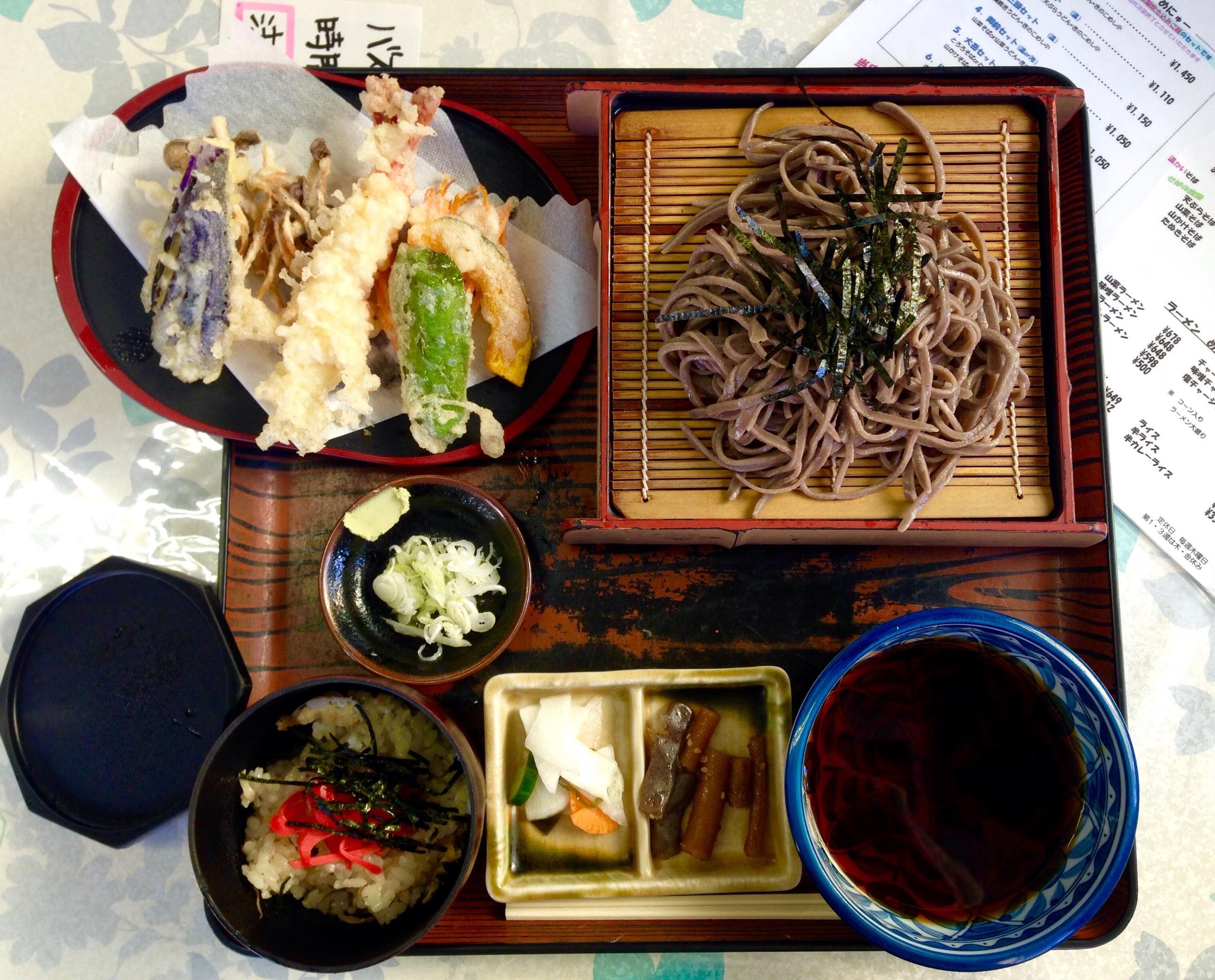 Local handmade soba and tempura with Kinoko steamed rice