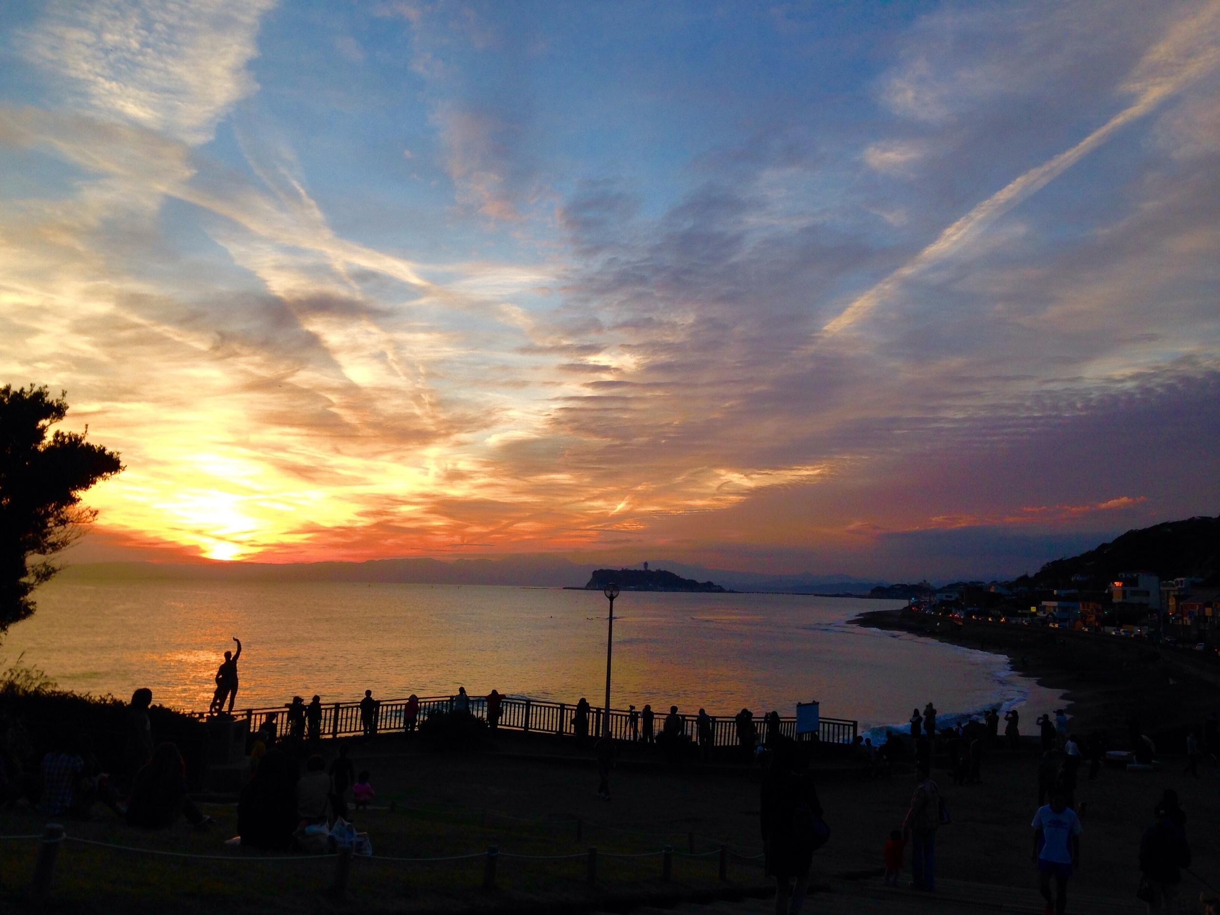 Sunset along the coast with Enoshima.
