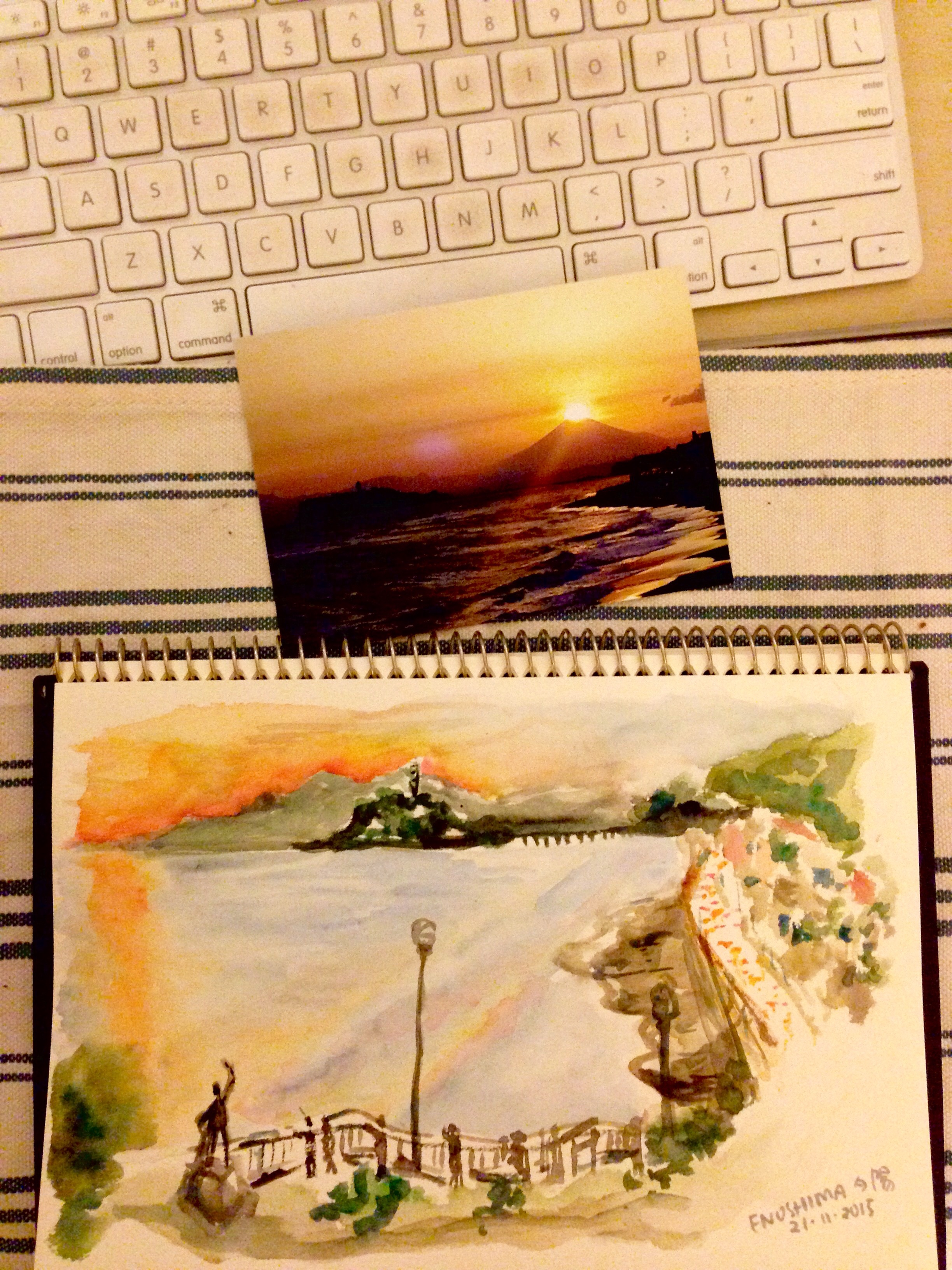 An old man came and asked about my painting and gave me a photo of Diamond Fuji, where the sun sets on Mount Fuji, taken on the same spot where I was at!