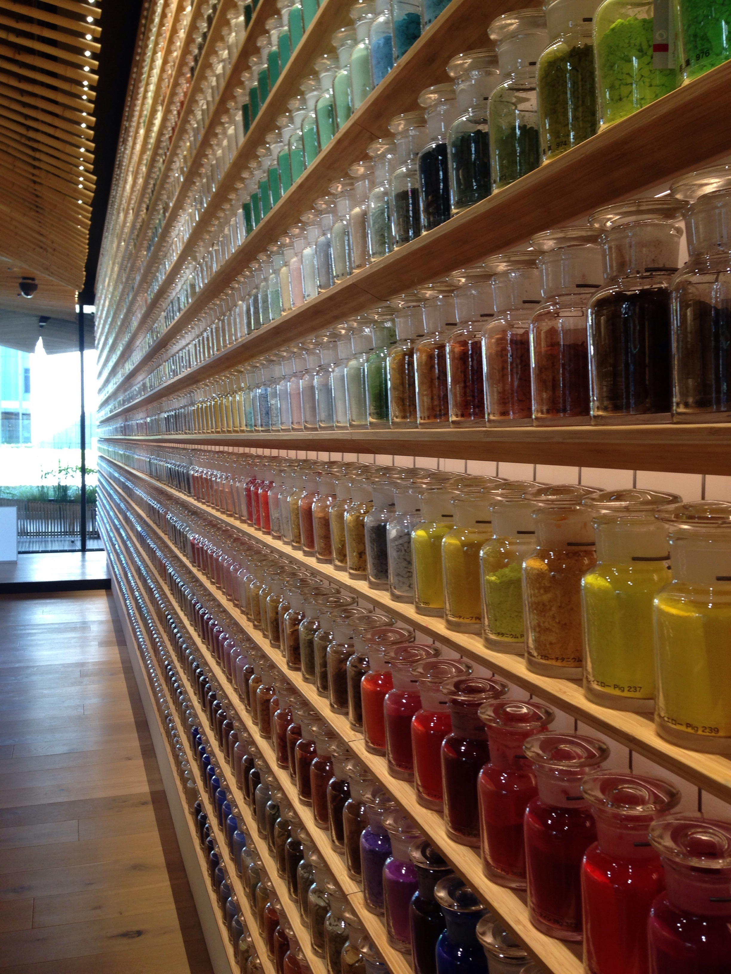 Walls of jars of pigments!