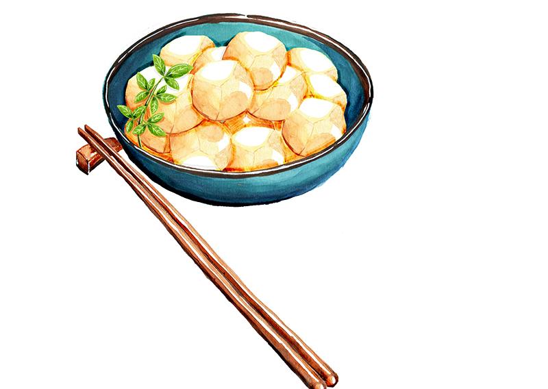 Satoimo (Boiled Sweet Yam Balls)