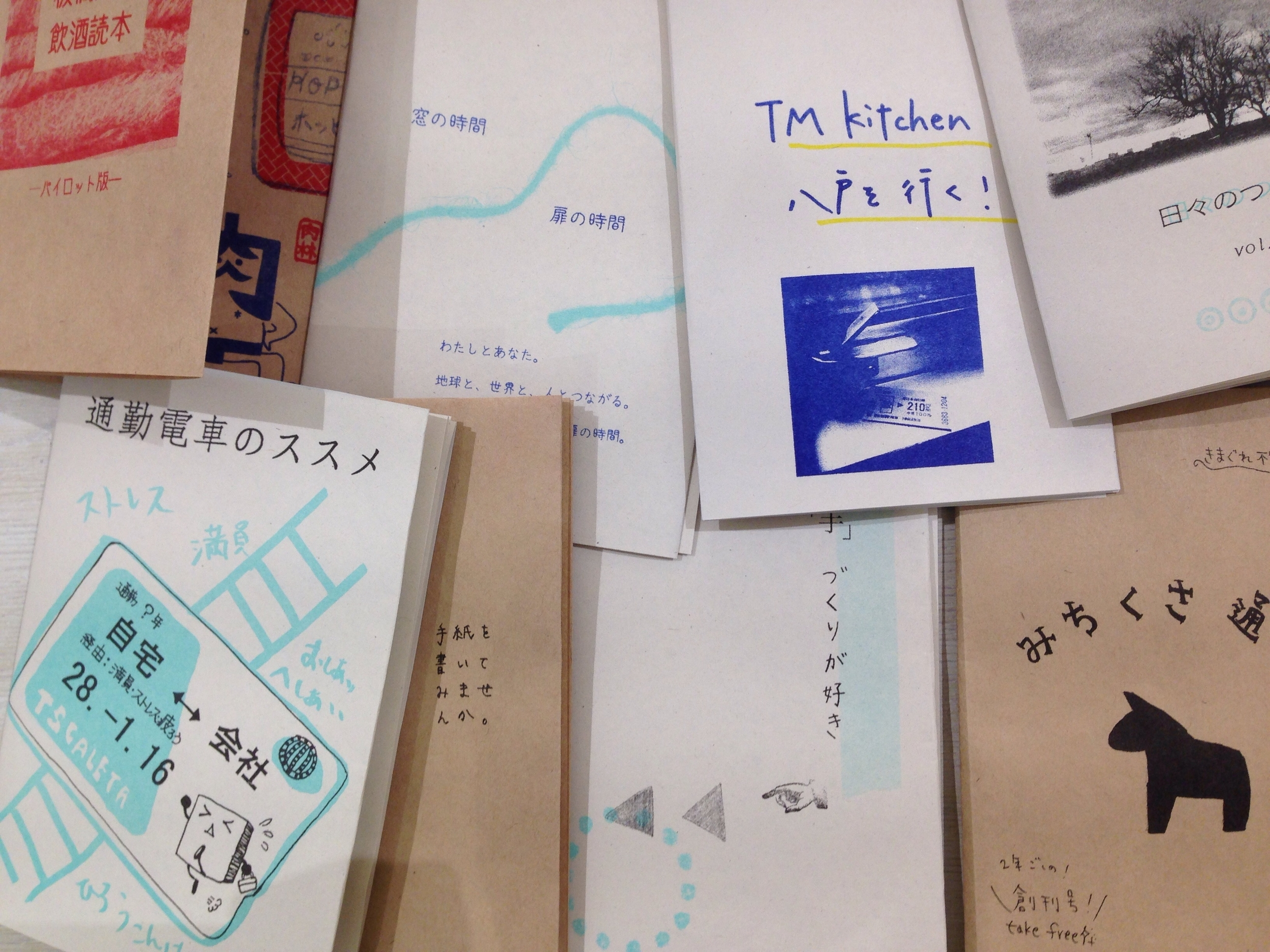 Lots of different fresh new zines from everyone in class!