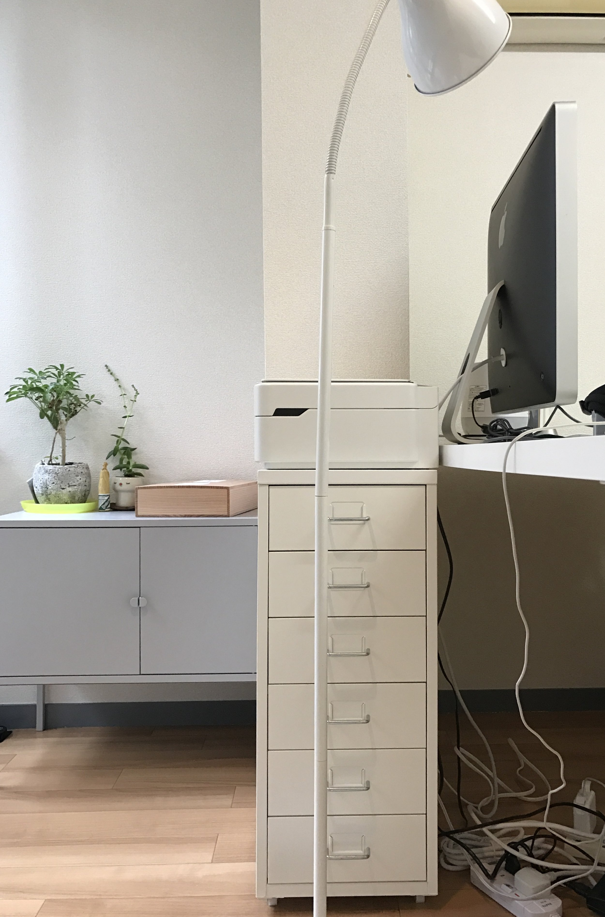 For all your documents with  HELMER chest of drawers  and a used IKEA floor lamp that doubles up as a desk lamp that I got from a garage sale.  Pardon the wire mess!