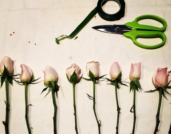 Flower crown prep in the studio.
