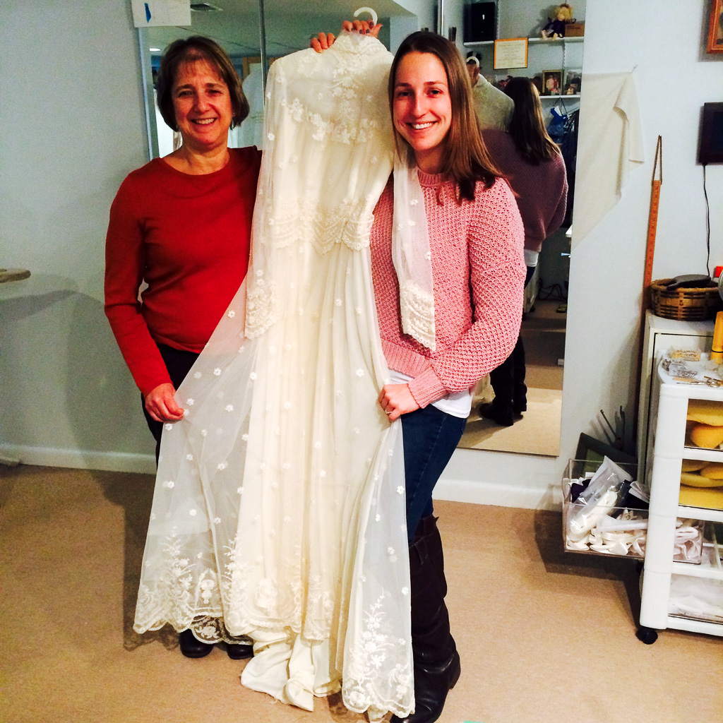 Mom and I, kissing the old dress goodbye!