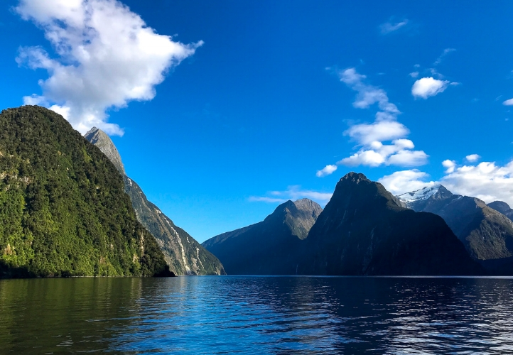 World Heritage Site Milford Sound on a gorgeous late summer day.
