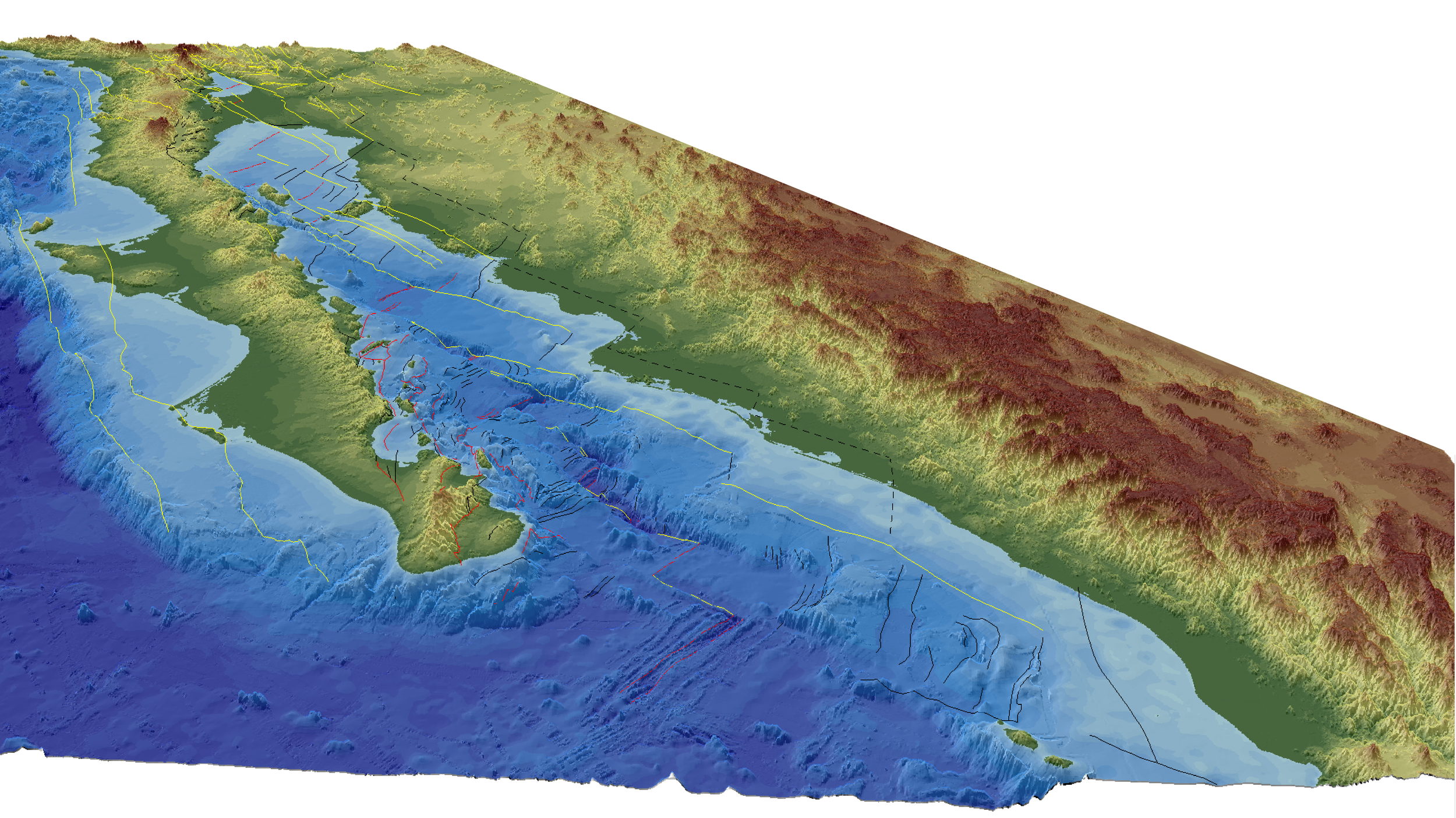 Perspective view of the Gulf of California-Salton Trough oblique rift. Structures responsible for Miocene to Present plate boundary deformation are shown.