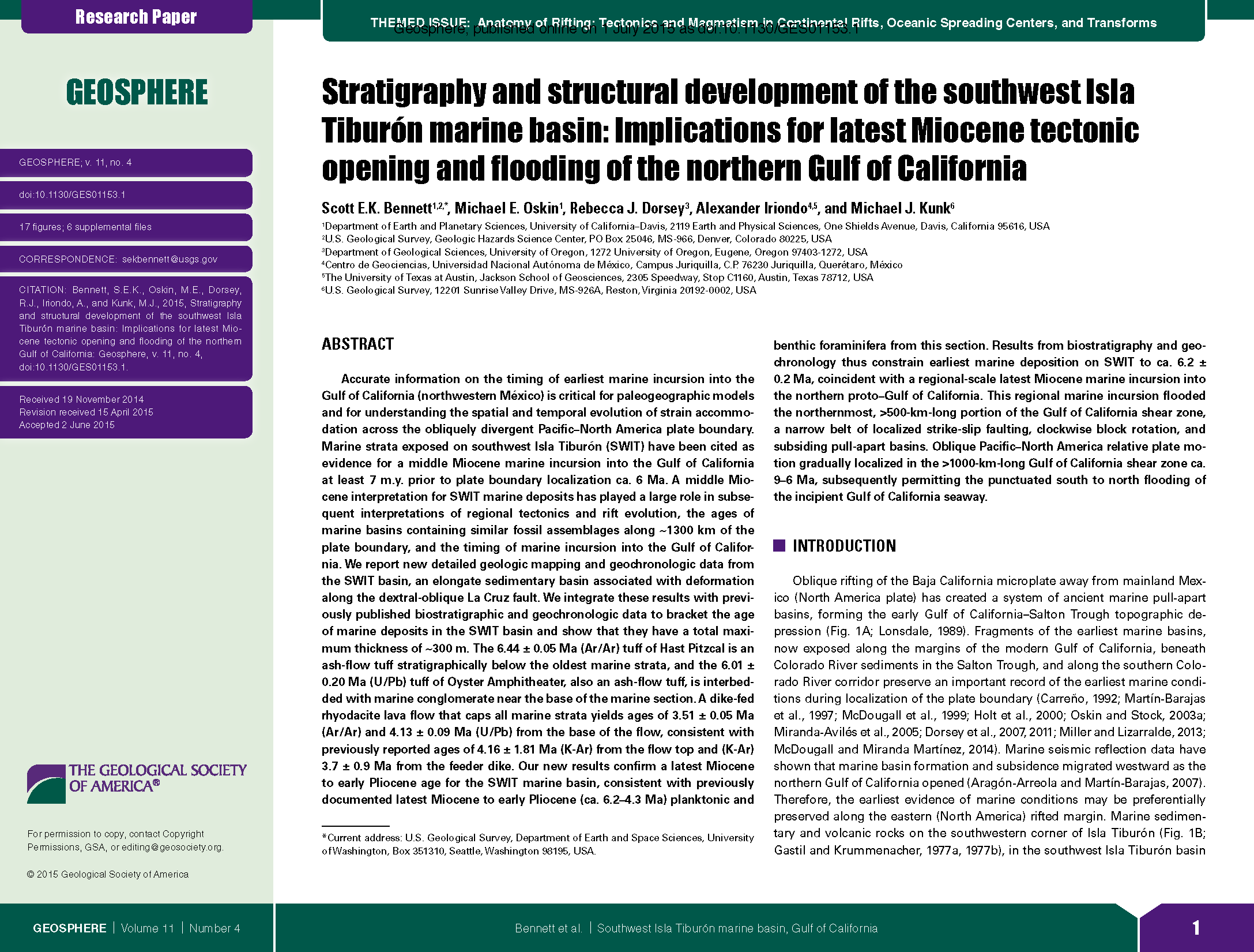 Benentt etal_Stratigraphy and structural development of the southwest Isla Tiburón marine basin- Implications for latest Miocene tectonic opening and flooding of the northern Gulf of CA_Geosphere_2015.png