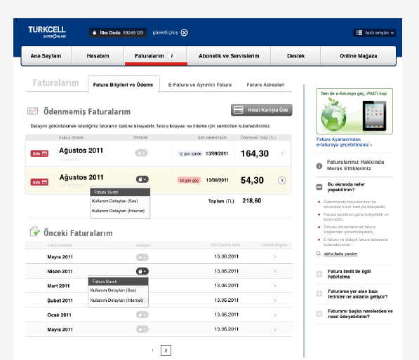 Invoice screen merges unpaid and paid invoices on a single screen with in-page help