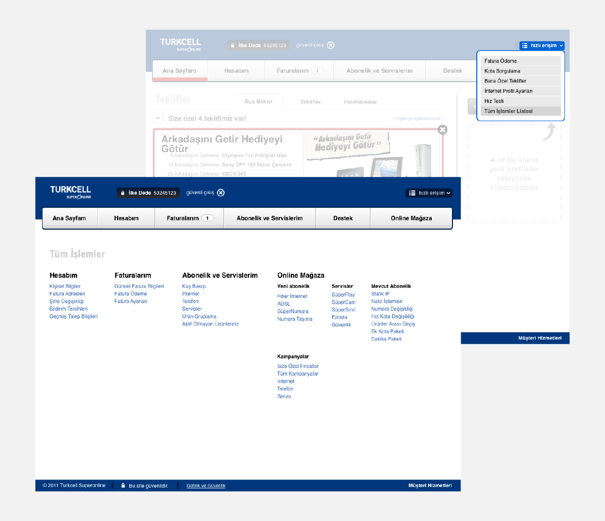 Quick access menu and functionality site index