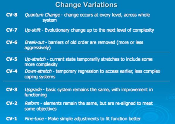 Table 6:  Spiral Dynamics Change Variations  (Beck & Cowan 1996)