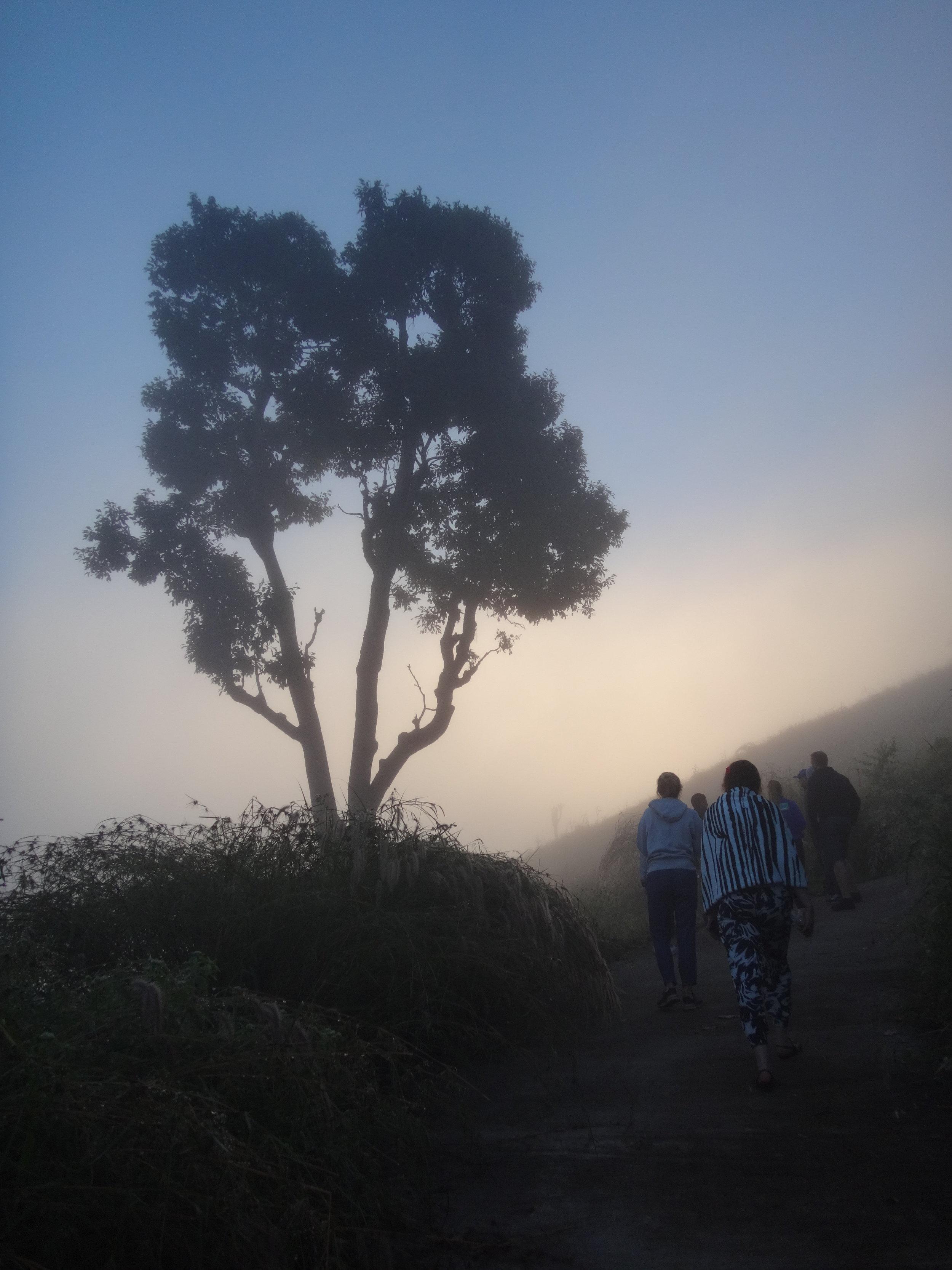 Ensimmäisenä vuoristoaamuna kiipesimme 6.30 katsomaan auringonnousua.