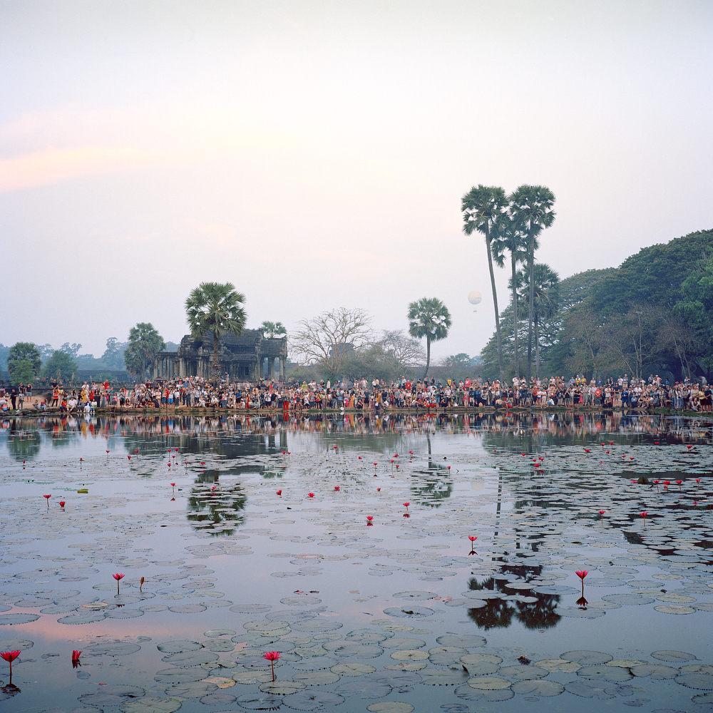 A crowd of tourists watching the sun rise at the Angkor Wat Temple on April 5th 2016