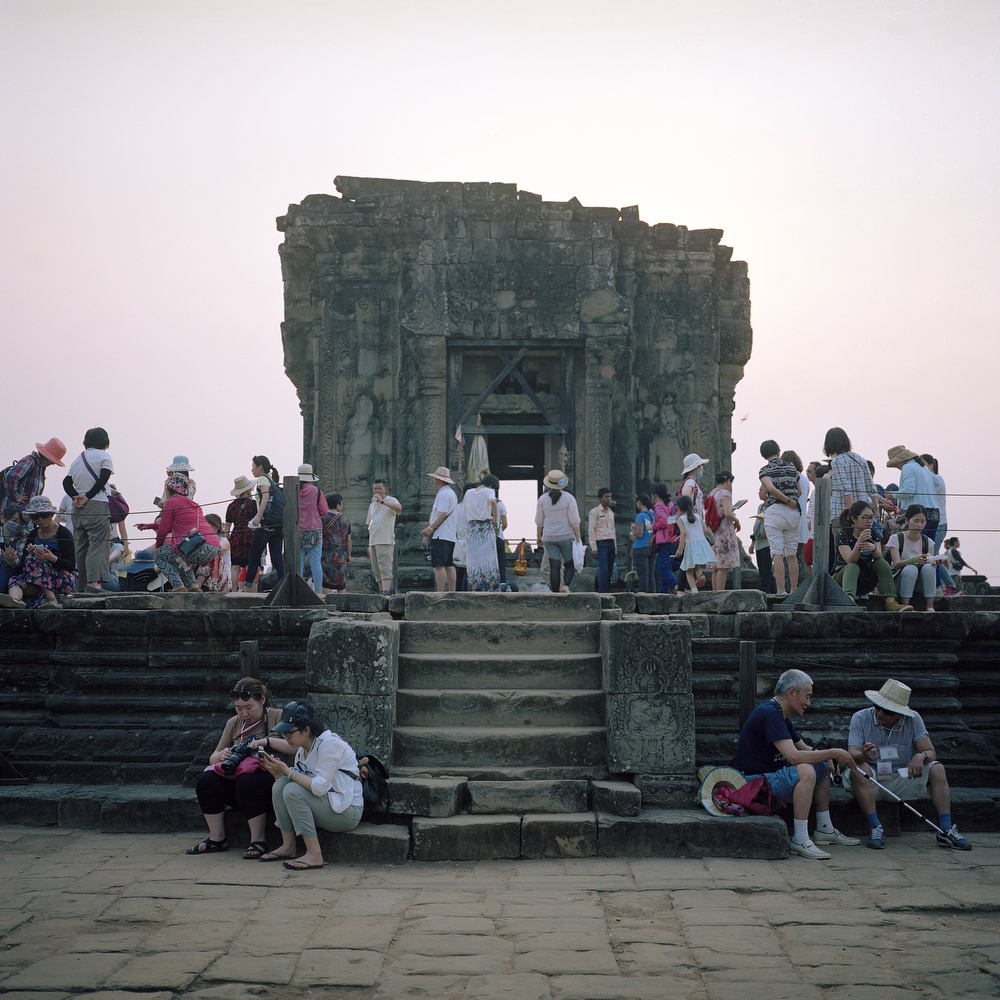 Tourists waiting for the sunset at Phnom Bakheng Temple on April 10th