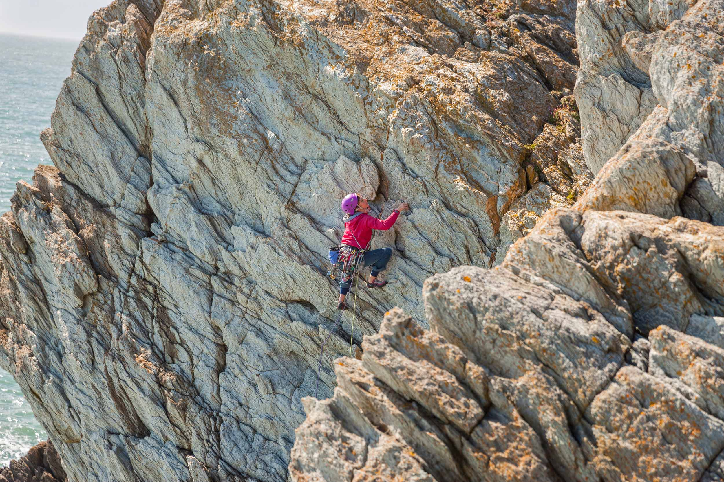 Climbing at Rhoscolyn, Holy Island, Anglesey  (Crown copyright 2018 / Visit Wales)
