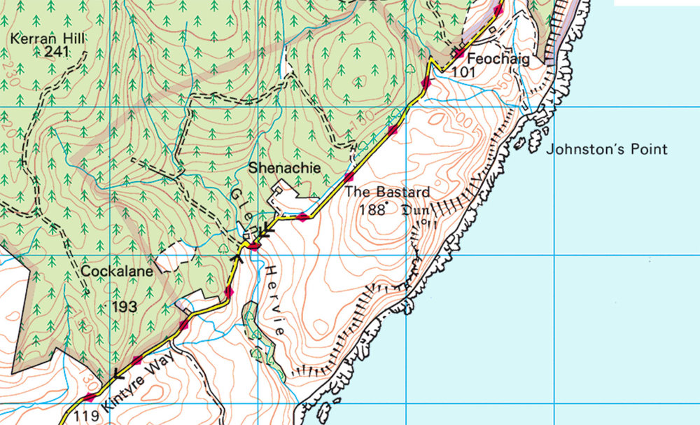 The Bastard, Kintyre  (Ordnance Survey)