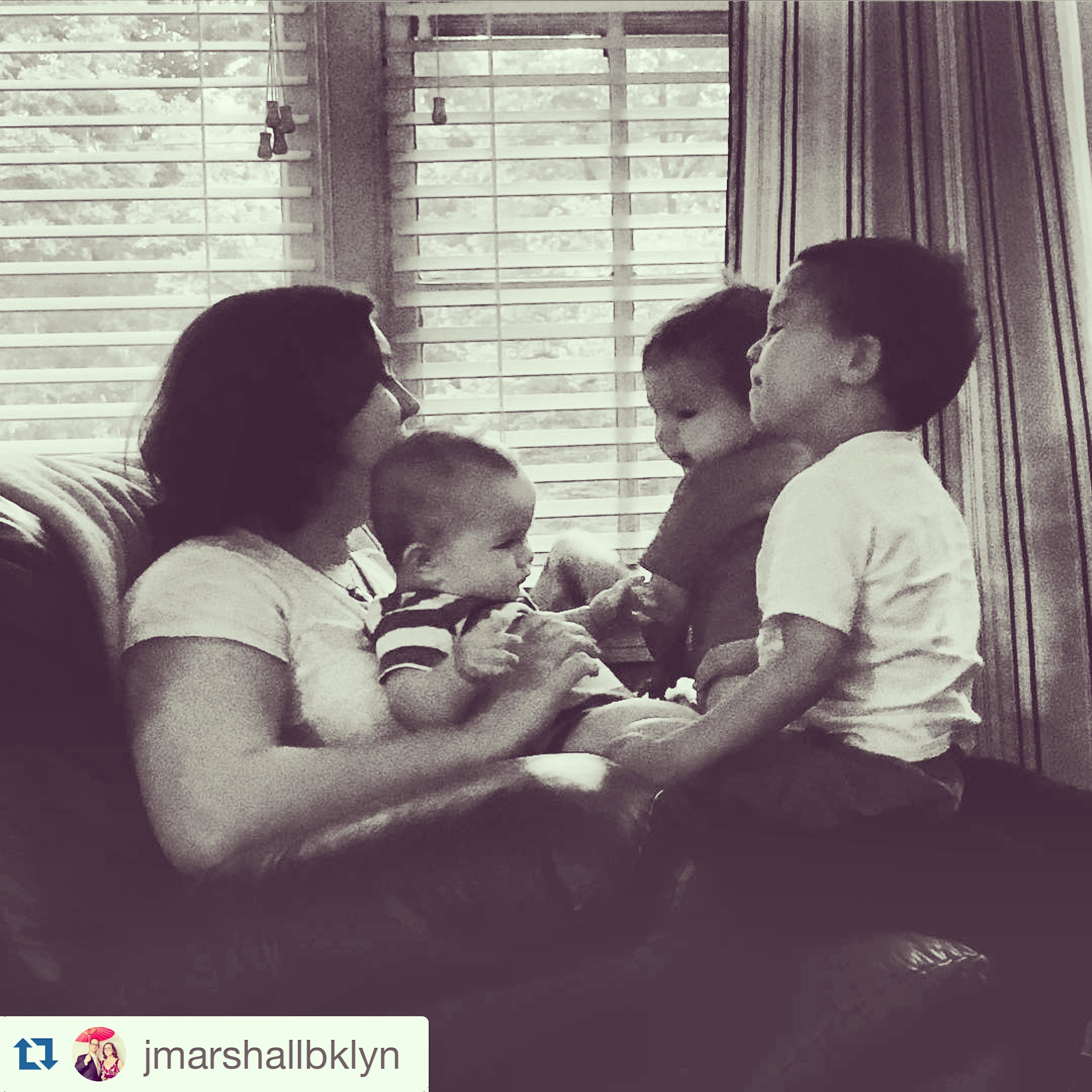 Justin took this picture of me with nephews #3, #4, and #5 piled on my lap! All the snuggles. *heart-eyes*