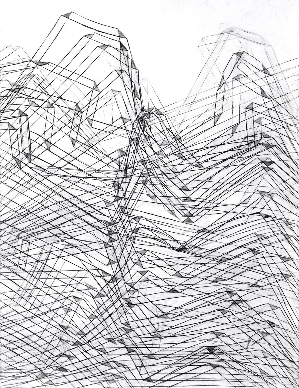 "Fold 4, Graphite on paper, 32"" X 50"""