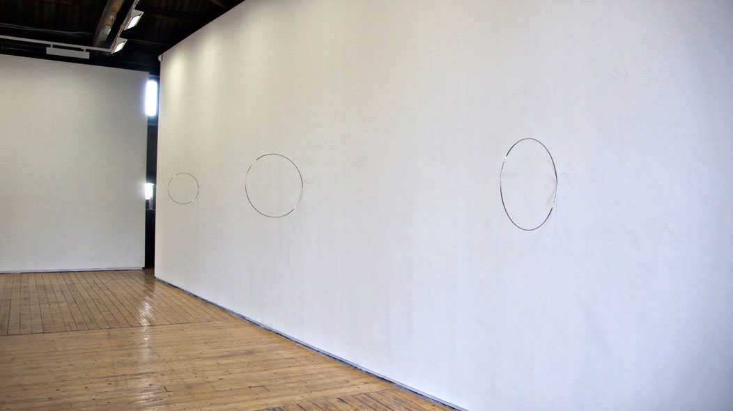 Hoops 2009 Stainless Steel Dimensions variable  installation view Green on Red Gallery, Dublin, 2009