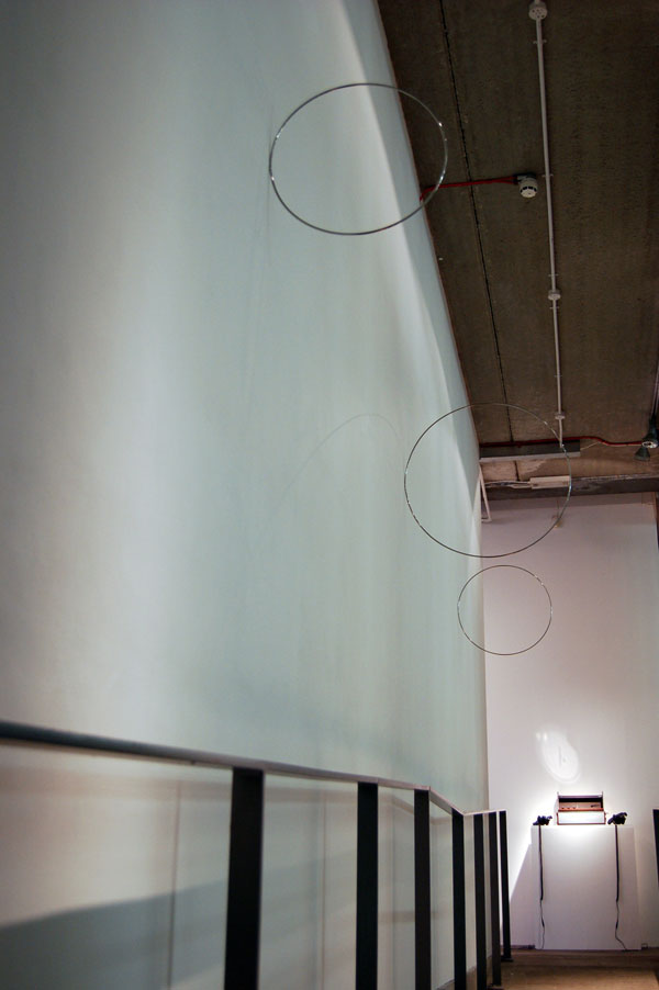 Hoops 2009 Stainless Steel Dimensions variable  installation view With Words Like Smoke, Chelsea Space, London, 2010