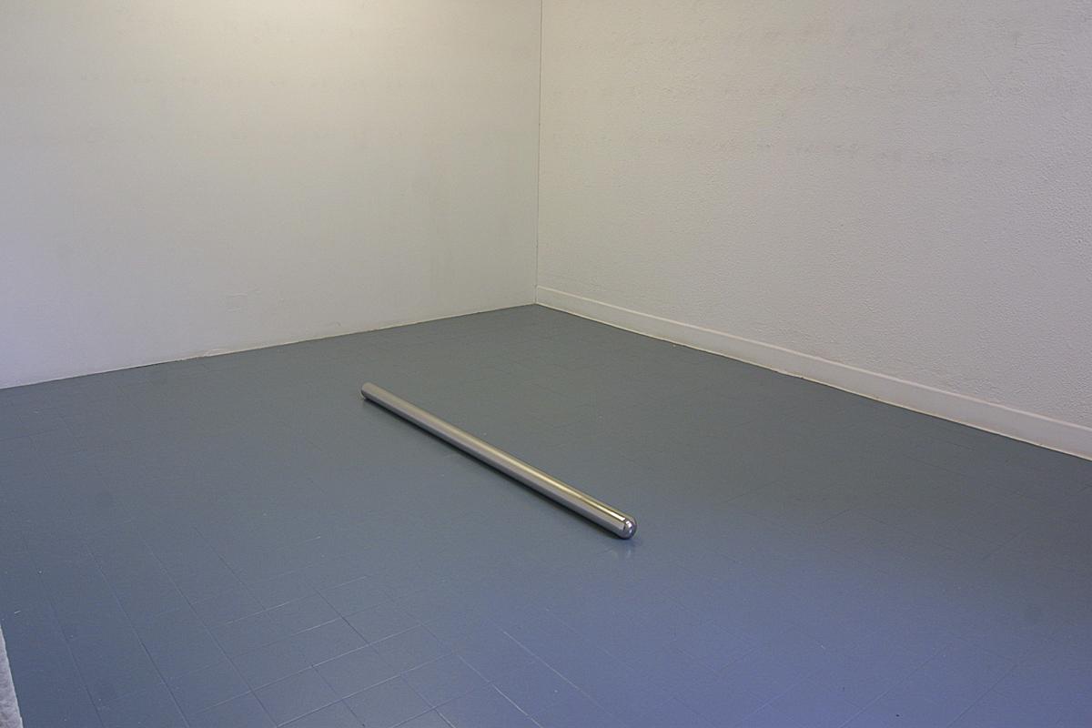 Lay  2003  stainless steel  163 x 8 cm   instal  lation viewButler Gallery, Kilkenny, Ireland, 2003