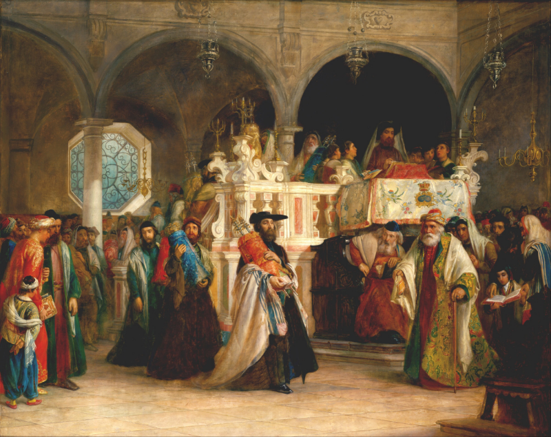Solomon Alexander Hart, The Feast of the Rejoicing of the Law at the Synagogue in Leghorn, Italy