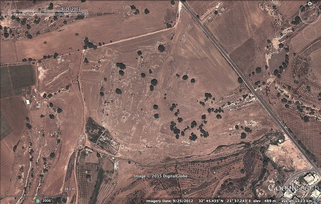 Satellite image of Artamis from Google Earth (c) in September 2012: the layout of the ancient village is clearly visible.