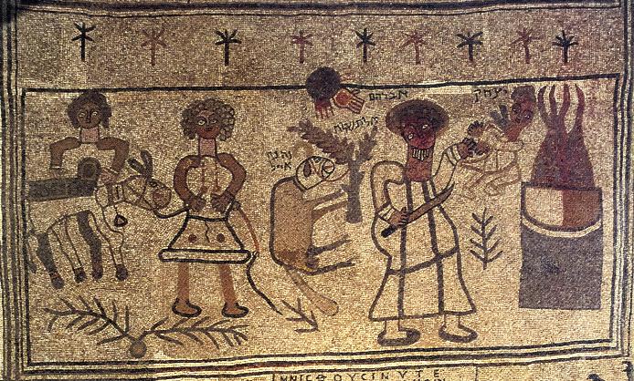 Binding of Isaac panel from the synagogue mosaic at Beth Alpha.