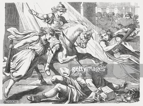 Heliodorus being struck down
