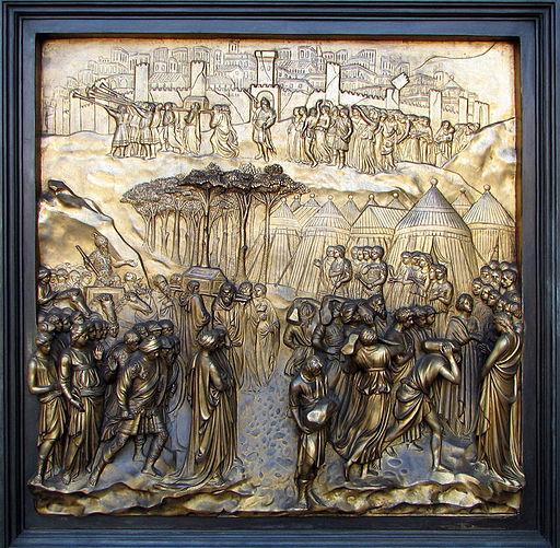 Battle of Jericho on Grace Cathedral. Bernard Gagnon via Wikimedia Commons.