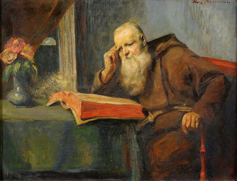 Friedrich Adolf Hornemann Lesender, Mönch, public domain.